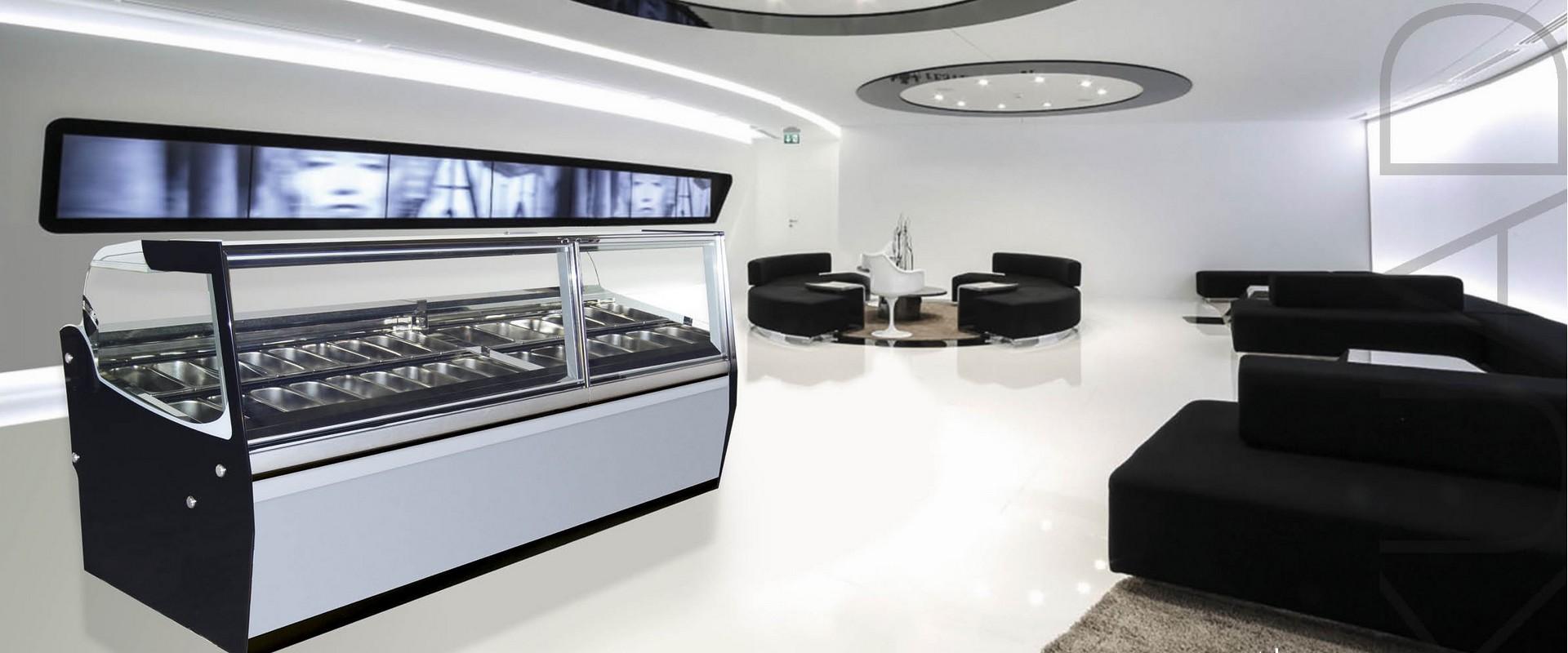 Vetrina gelato Kuadra in ambiente moderno